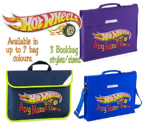 Hot Wheels design Book bag - available in choice of sizes, colour and spec.  Personalised.